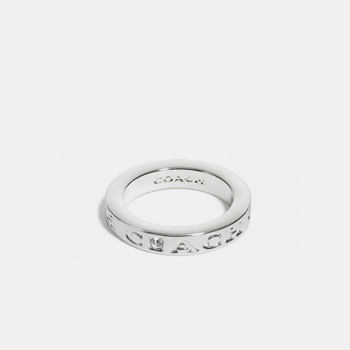 COACH pave metal ring SILVER/CLEAR