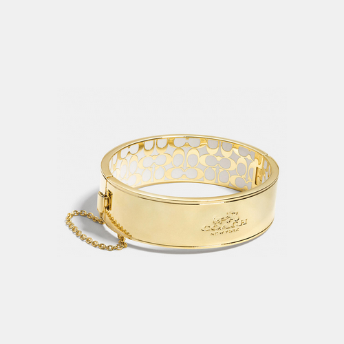 COACH metal chain hinged bangle GOLD/CHALK