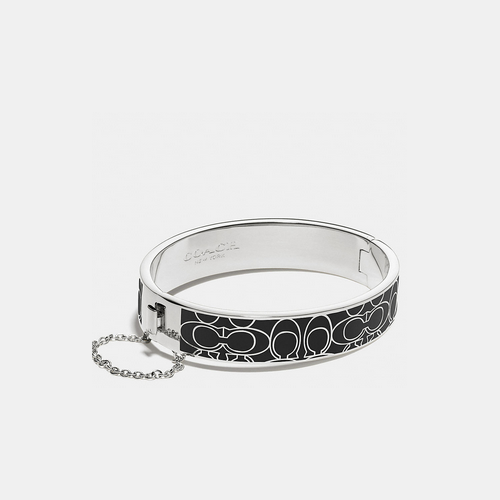 COACH SIGNATURE c metal enamel chain hinged bangle SILVER/BLACK