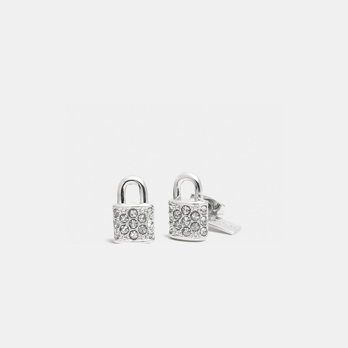COACH PAVE padlock stud earrings SILVER