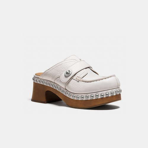 COACH TURNLOCK mid-heel clog with rivets CREAM
