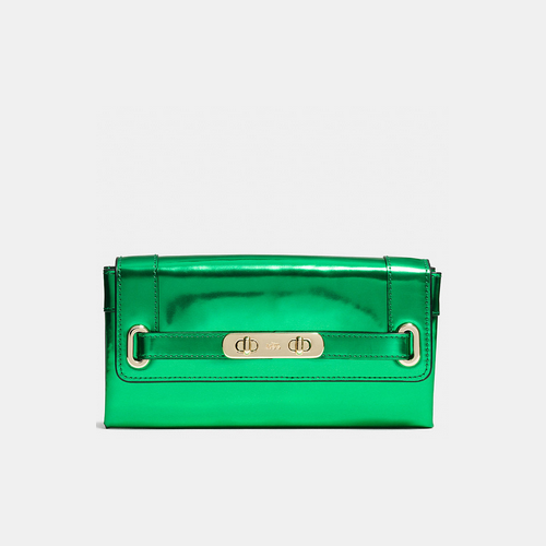 COACH swagger wallet LIGHT GOLD/GREEN