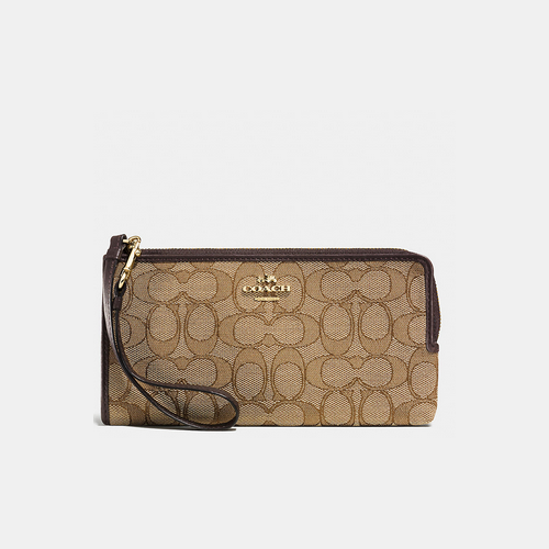 COACH ZIPPY wallet LIGHT GOLD/KHAKI/BROWN
