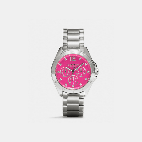 COACH TRISTEN stainless steel color dial bracelet watch FUCHSIA