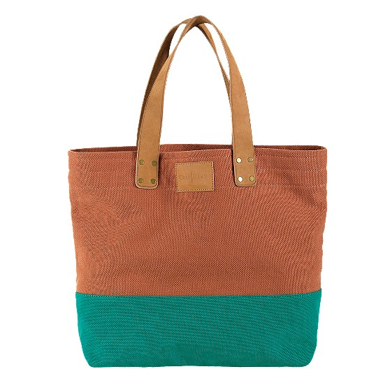 Cole Haan Kittery Point Tote Burnt Orange/Teal Canvas