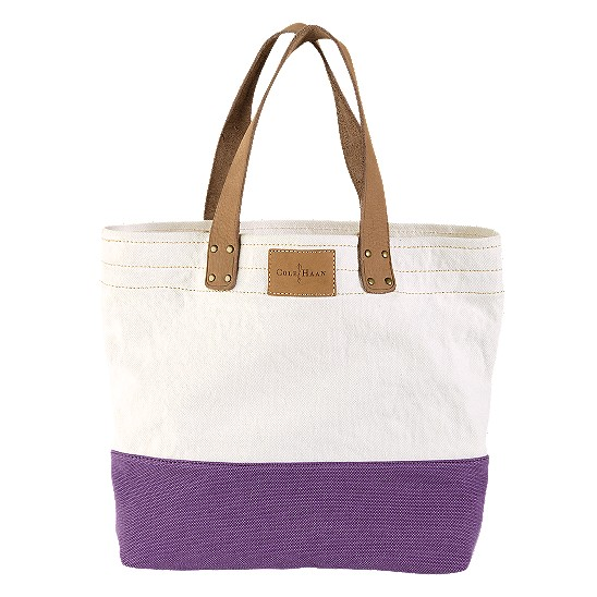 Cole Haan Kittery Point Tote Natural/Mulberry Canvas