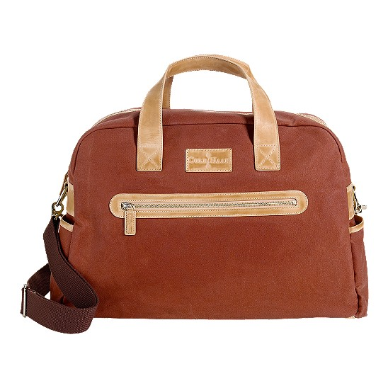 Cole Haan Merced Weekender Burnt Orange Canvas/Buff