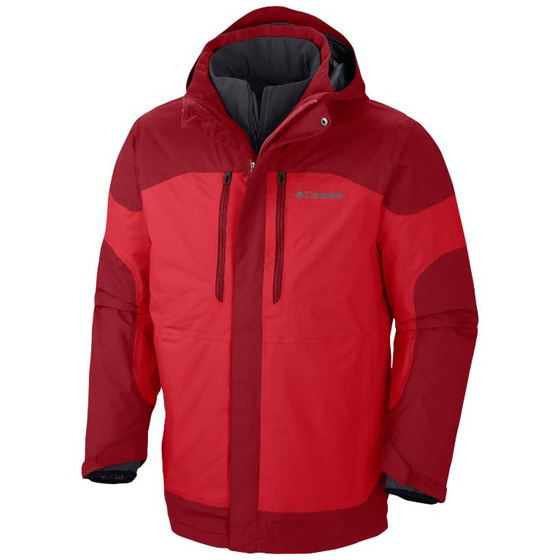 COLUMBIA MENS SUMMIT CREST™ INTERCHANGE JACKET BRIGHT RED