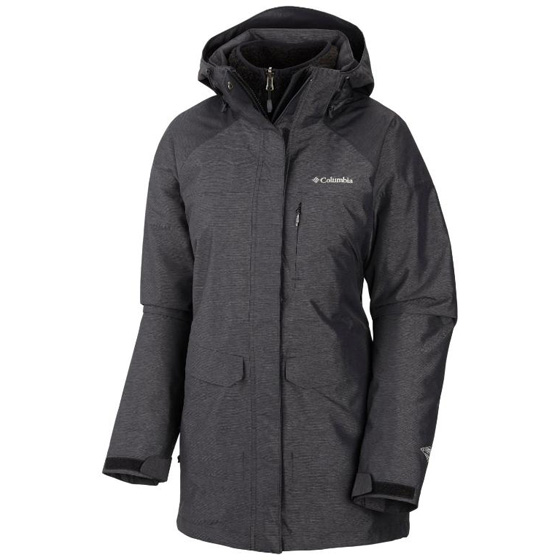 COLUMBIA WOMENS PORTLAND EXPLORER™ LONG INTERCHANGE JACKET BLACK MELANGE