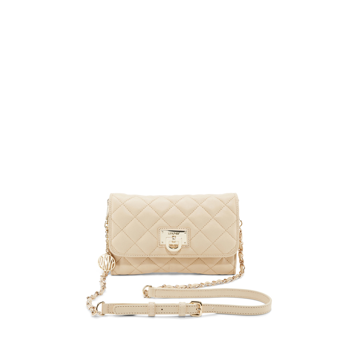 SAND DKNY QUILTED LEATHER SMALL FLAP CROSSBODY