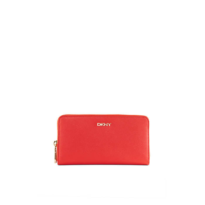 CORAL DKNY SAFFIANO LEATHER LARGE WALLET