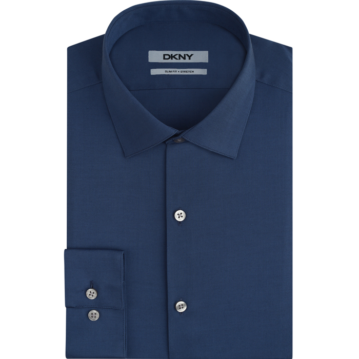 WASHED BLUE DKNY NAILHEAD DRESS SHIRT