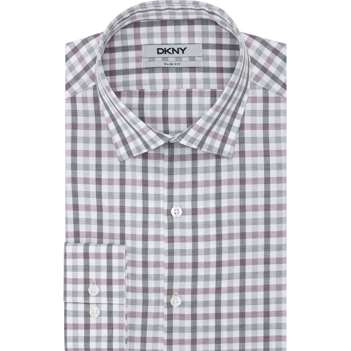 BOISENBERRY DKNY CHECK GRID DRESS SHIRT