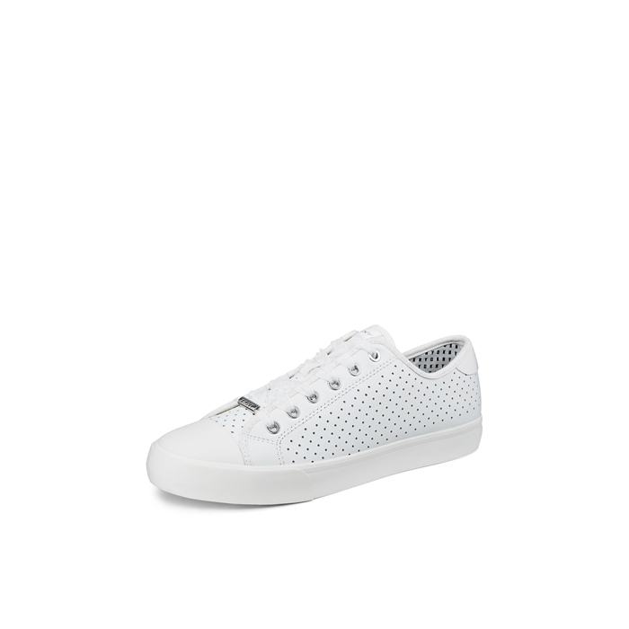 WHITE DKNY BARBARA PERFORATED LEATHER SNEAKER