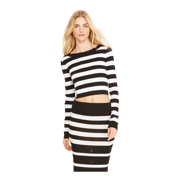 BLACK DKNY STRIPED CROPPED PULLOVER