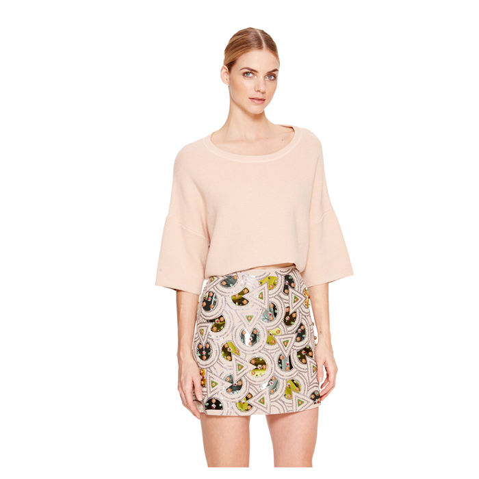 PALE POWDER DKNY DROP SHOULDER PULLOVER