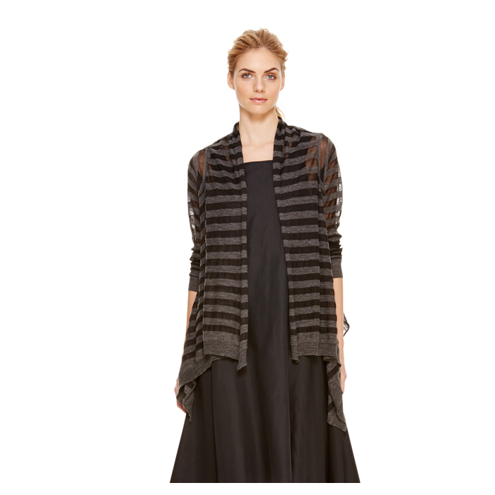 CHARCOAL DKNY DKNYPURE BURNOUT CARDIGAN COZY