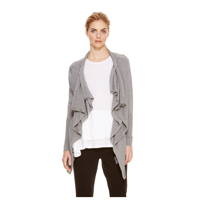 HEATHER GREY DKNY DKNYPURE DOUBLE LAYER CARDIGAN