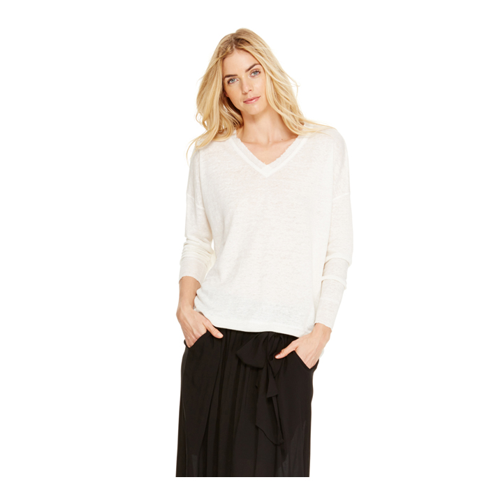 WHITE DKNY DKNYPURE RAW EDGE LINEN PULLOVER