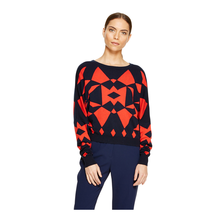 INK DKNY GEOMETRIC DOLMAN PULLOVER