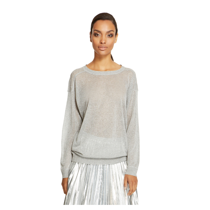 SILVER DKNY METALLIC LONG SLEEVE PULLOVER