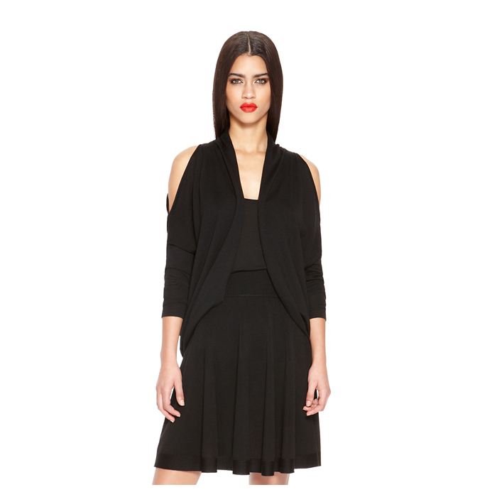 BLACK DKNY COLD SHOULDER DRAMA SHRUG