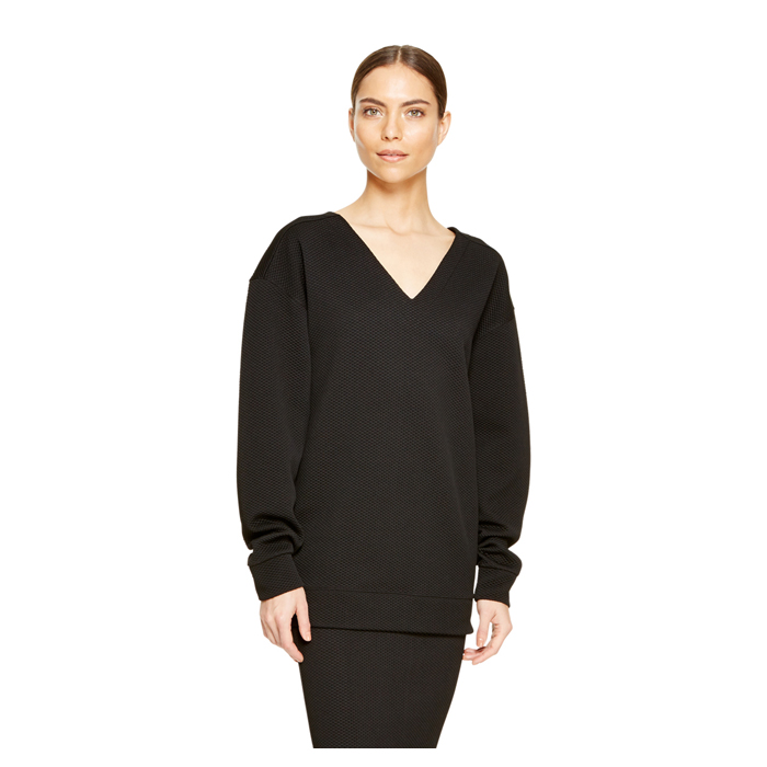 BLACK DKNY TEXTURED JERSEY PULLOVER