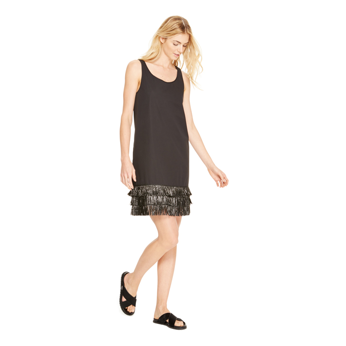BLACK DKNY RAFFIA HEM SLEEVELESS DRESS