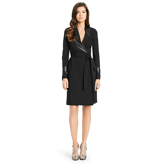 DVF Glam Leather Detail Wrap Dress in black