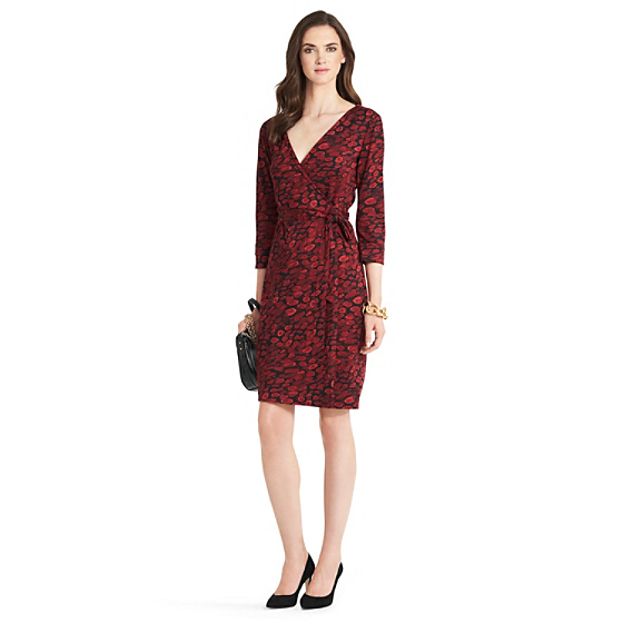 DVF New Julian Two Silk Jersey Wrap Dress in animal rain red