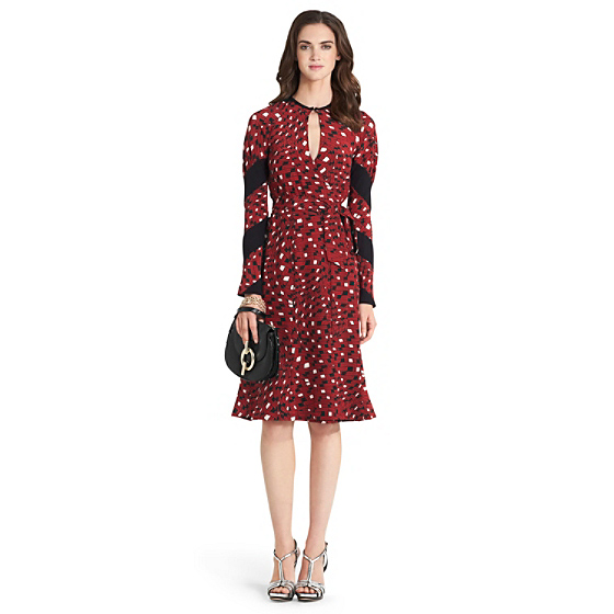 DVF Judith Silk Wrap Dress in chain mail warp vicuna