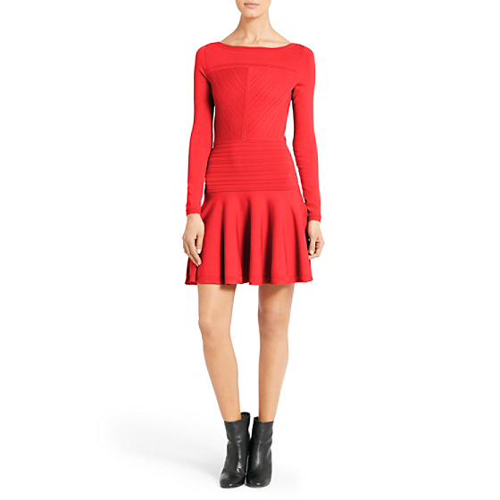 DVF Delta Knit Dress in electric crimson