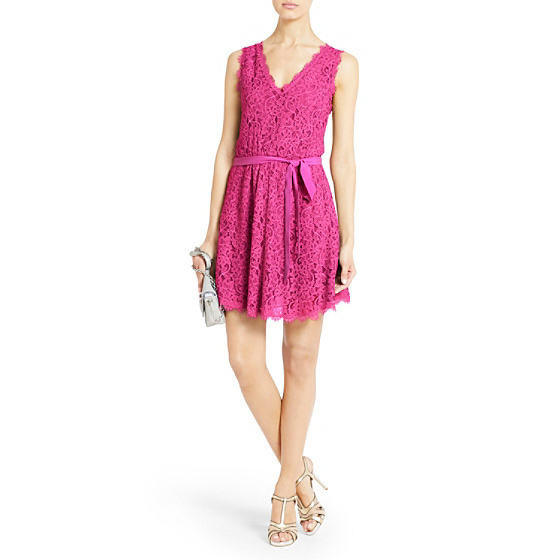 DVF Luella Lace Dress in deep carnation