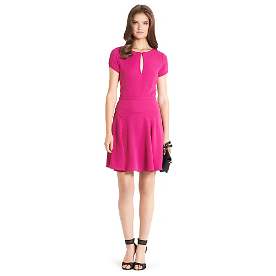 DVF Raizel Fit and Flare Dress in fetish pink
