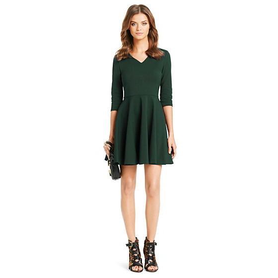DVF Jeannie V-Neck Fit and Flare Dress in hunter green