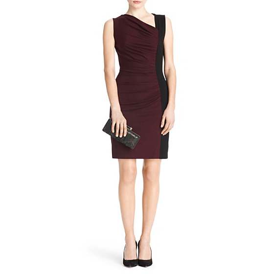 DVF Gladys Ruched Knit Dress in purple rouge/black