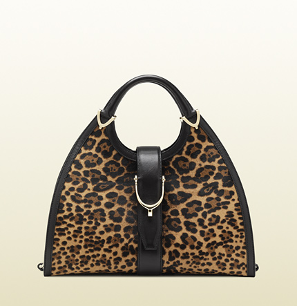 Gucci stirrup jaguar print top handle bag