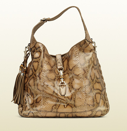 Gucci new jackie warm sand python shoulder bag