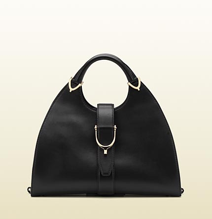 Gucci stirrup black leather top handle bag