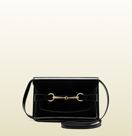 Gucci bright bit patent leather shoulder bag
