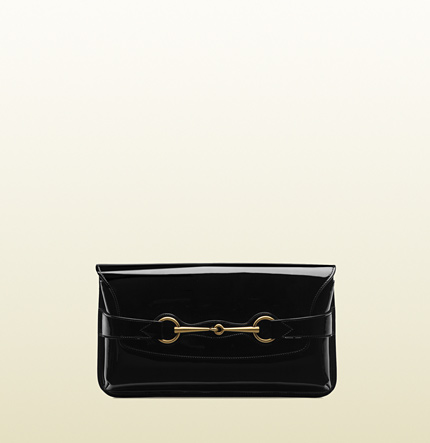 Gucci bright bit black patent leather clutch