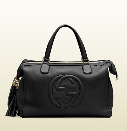 Gucci soho tote with embossed interlocking G and tassels