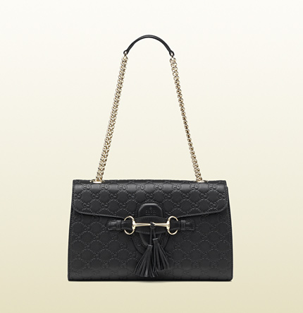 Gucci emily black guccissima leather shoulder bag