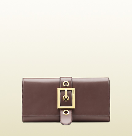 Gucci lady buckle mauve leather clutch