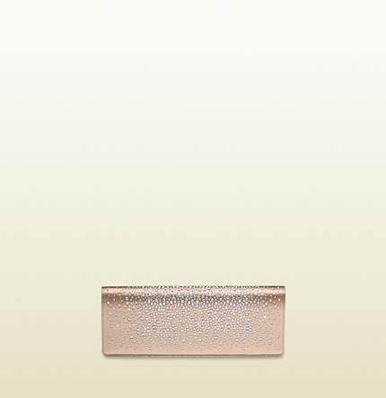Gucci broadway light pink evening bag with strass embroidery