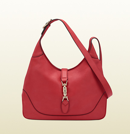 Gucci jackie begonia pink leather shoulder bag
