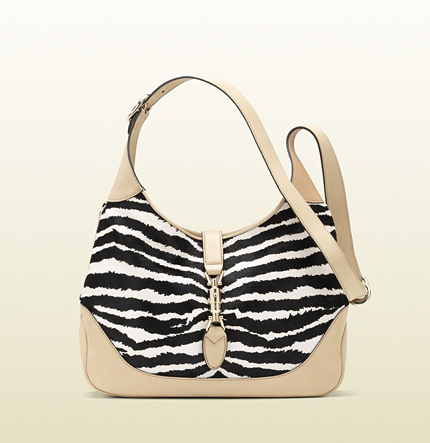 Gucci jackie zebra print leather shoulder bag