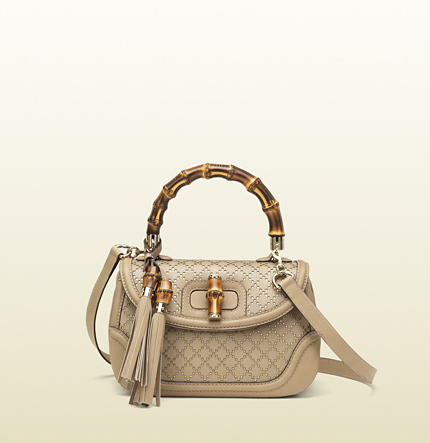 Gucci new bamboo bi-color diamante leather top handle bag