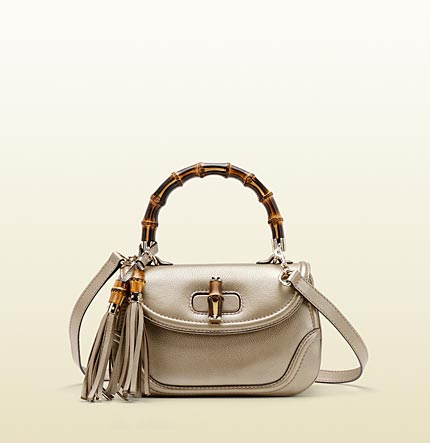 Gucci new bamboo leather top handle bag