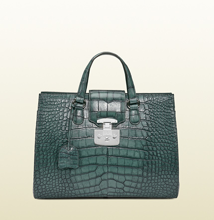 Gucci lady lock crocodile tote